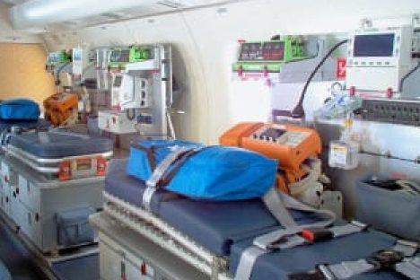 Das Innere eines Ambulanz Jets
